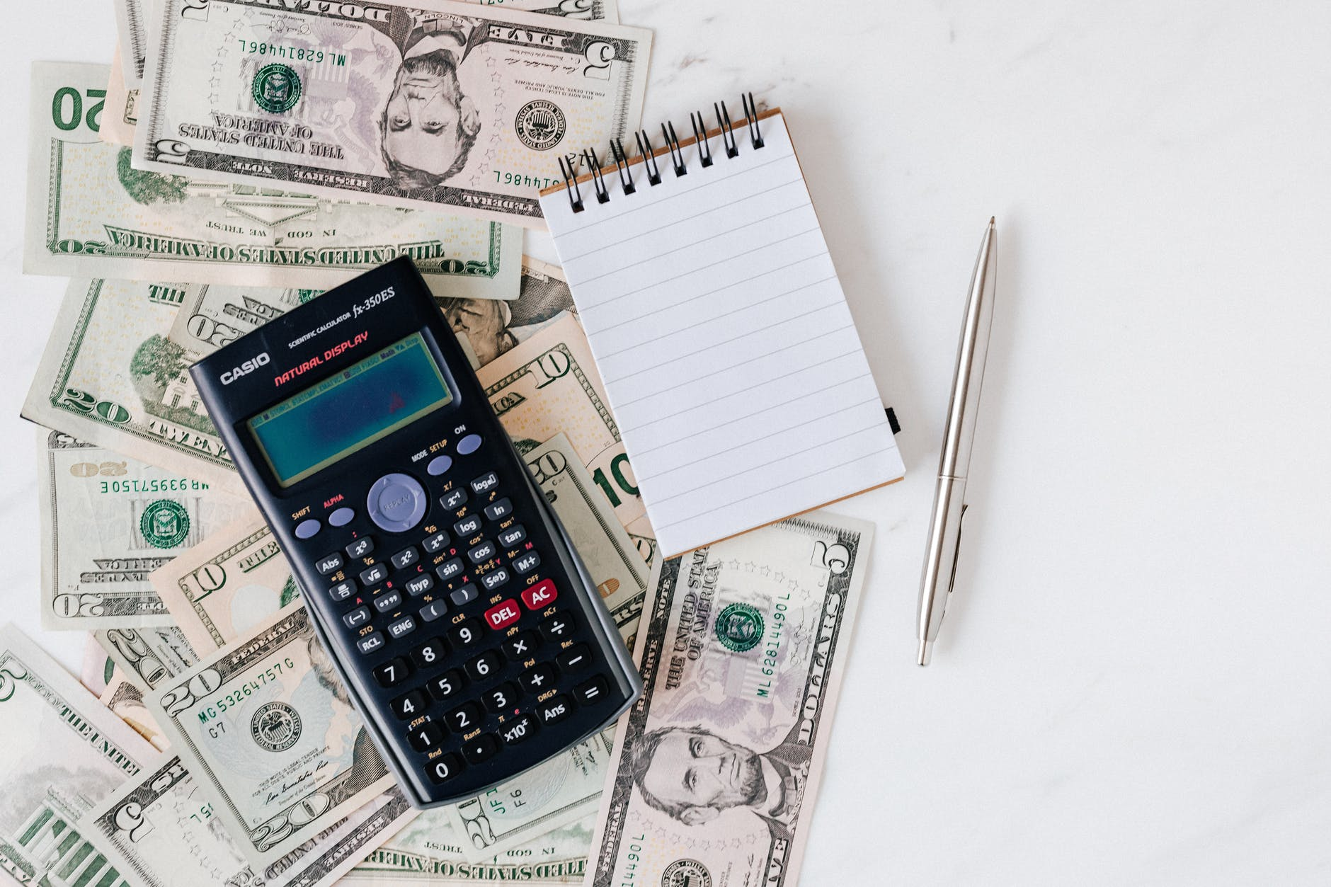 Calculator, currency, and note pad.